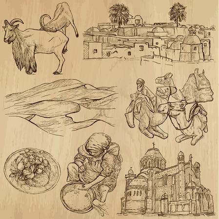 mediterranean food: ALGERIA set no 2  Collection of hand drawn illustrations  Illustration