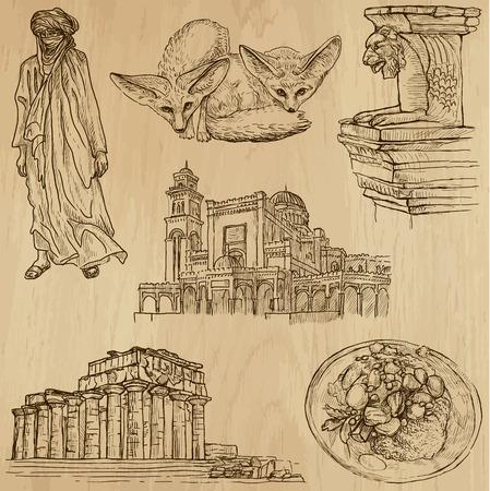 customs and habits:  LIBYA set no 1  Collection of hand drawn illustrations  Illustration
