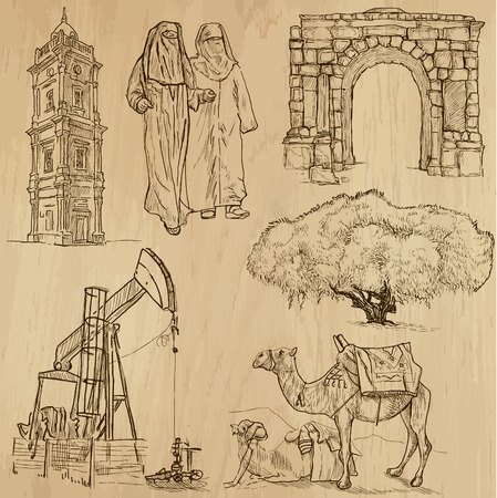 customs and habits:  LIBYA set no 2  Collection of hand drawn illustrations