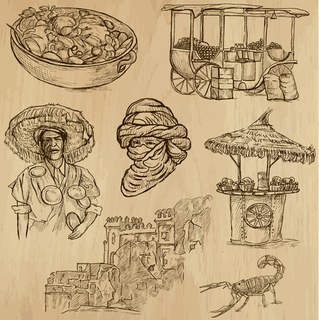 no 1: MOROCCO set no 1  Collection of hand drawn illustrations