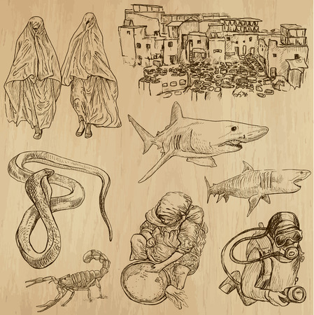customs and habits: MOROCCO set no 2  Collection of hand drawn illustrations