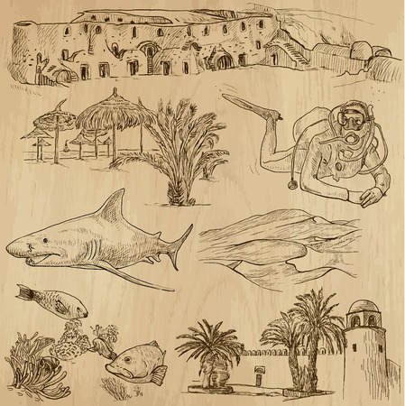 customs and habits: TUNISIA set no 1  Collection of hand drawn illustrations
