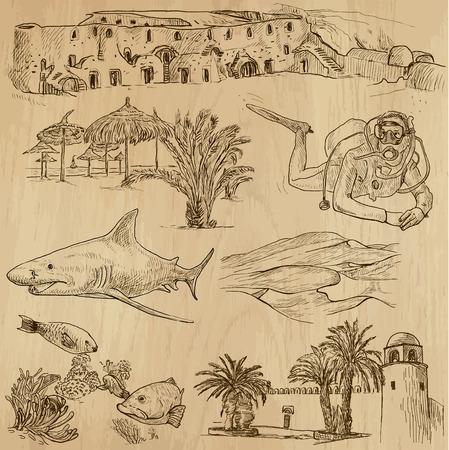 no 1: TUNISIA set no 1  Collection of hand drawn illustrations