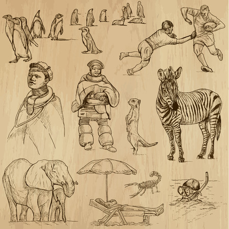 no 1: SOUTH AFRICA set no 1  Collection of hand drawn illustrations into vector set