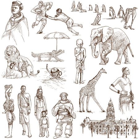 no 1: SOUTH AFRICA set no 1  Collection of full sized hand drawn illustrations on white