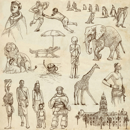 customs and habits: Travel   Republic Of SOUTH AFRICA set no 1  Collection of an hand drawn illustrations on old paper  Stock Photo