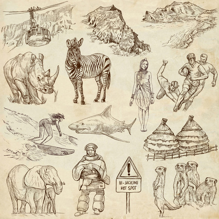 customs and habits: Travel   Republic Of SOUTH AFRICA set no 2  Collection of an hand drawn illustrations on old paper