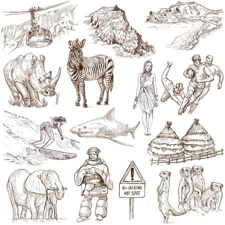 customs and habits: SOUTH AFRICA set no 2  Collection of full sized hand drawn illustrations on white  Stock Photo