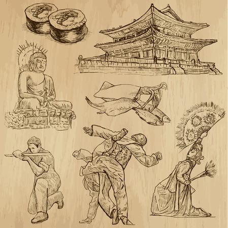 Podróż KOREA ustawić nie 1 Kolekcja ręcznie rysowane ilustracje Każdy rysunek zawiera dwie warstwy konturów, kolorowym tle jest izolowane Ilustracje wektorowe