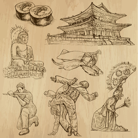 customs and habits: Travel   KOREA set no 1  Collection of hand drawn illustrations  Each drawing comprises two layers of outlines, the colored background is isolated