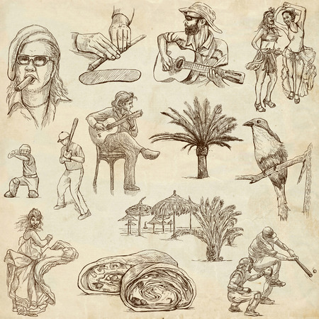 Travel   CUBA set no 1  Collection of an hand drawn illustrations on old paper   illustration