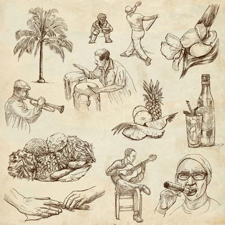 여행 쿠바 오래 된 종이에 손으로 그린 그림의 2 번 컬렉션을 설정하지