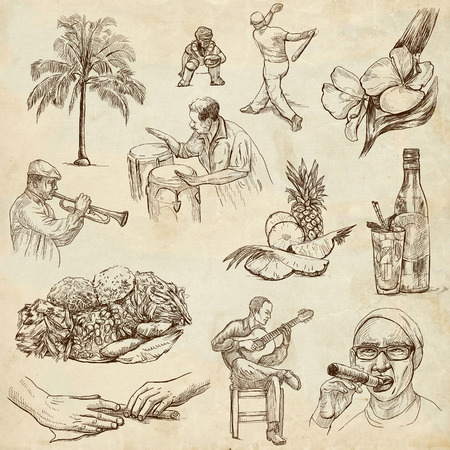 customs and habits: Travel   CUBA set no 2  Collection of an hand drawn illustrations on old paper