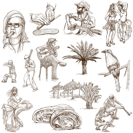customs and habits: CUBA set no 1  Collection of full sized hand drawn illustrations on white