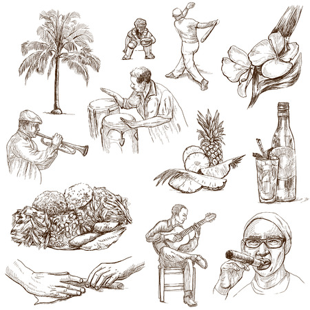 customs and habits: CUBA set no 2  Collection of full sized hand drawn illustrations on white  Stock Photo