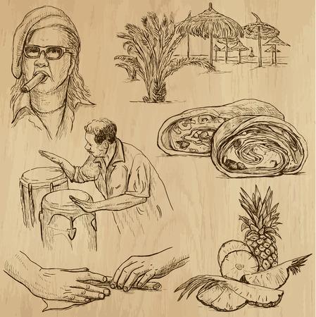 no 1: CUBA set no 1  Collection of hand drawn illustrations into vector set