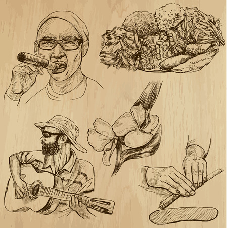 customs and habits: CUBA set no 2  Collection of hand drawn illustrations into vector set