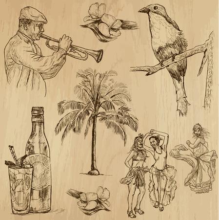 쿠바 벡터 세트로 손으로 그린 그림의 3 번 컬렉션을 설정하지 일러스트