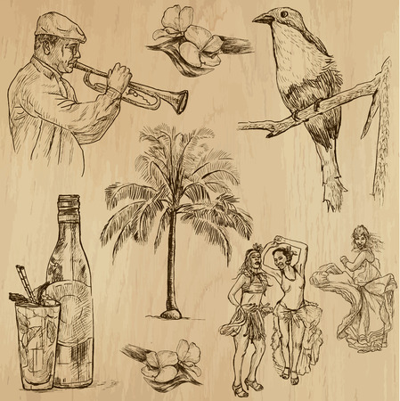 CUBA set no 3  Collection of hand drawn illustrations into vector set