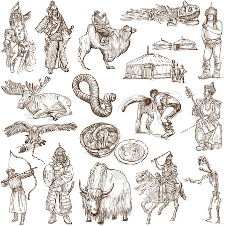MONGOLIA  Collection of an hand drawn illustrations on white illustration