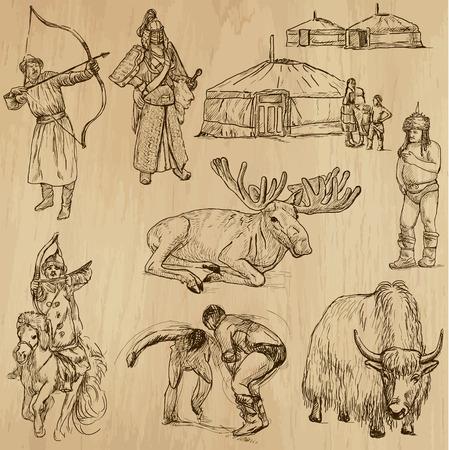 archaeological: Mongolia no 1 - una mano drawn, vector conjunto