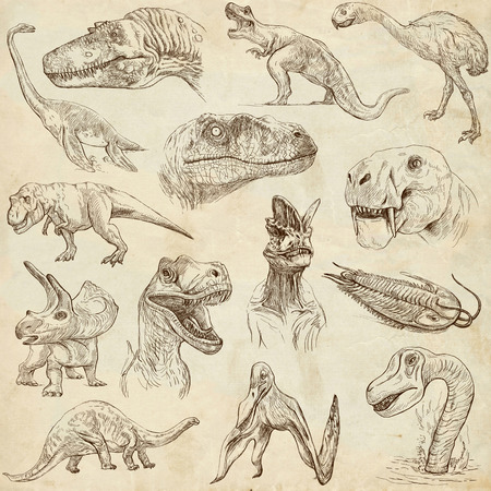 DINOSAURS  set no  1  - Collection of an hand drawn illustrations on paper  illustration