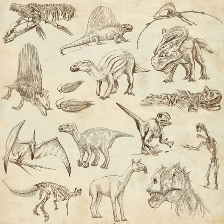 DINOSAURS  set no  2  - Collection of an hand drawn illustrations on paper  illustration