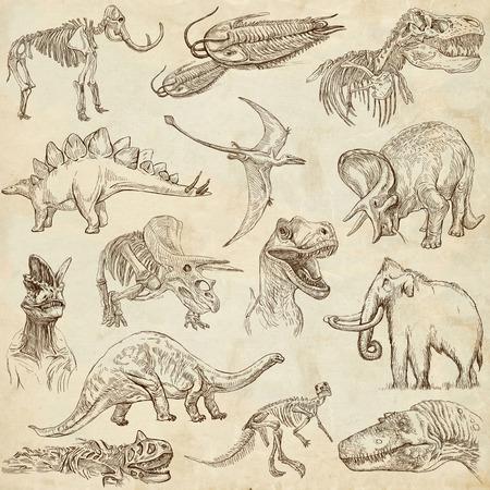 DINOSAURUSSEN set no 3 - Verzameling van een hand getekende illustraties op papier