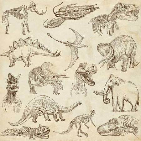 DINOSAURS  set no  3  - Collection of an hand drawn illustrations on paper  Stock Photo