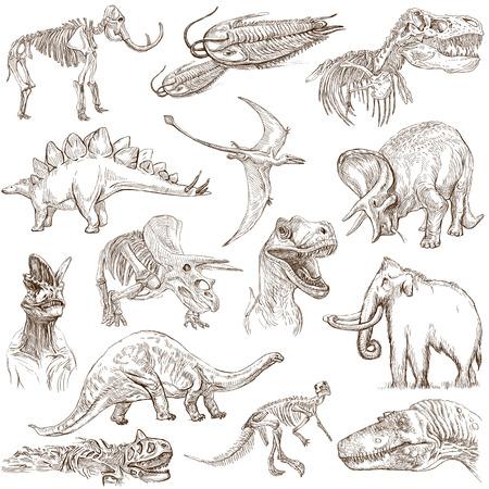 Dinossauros não 3 - pacote branco - coleção de uma mão desenhada ilustrações Foto de archivo - 27637429