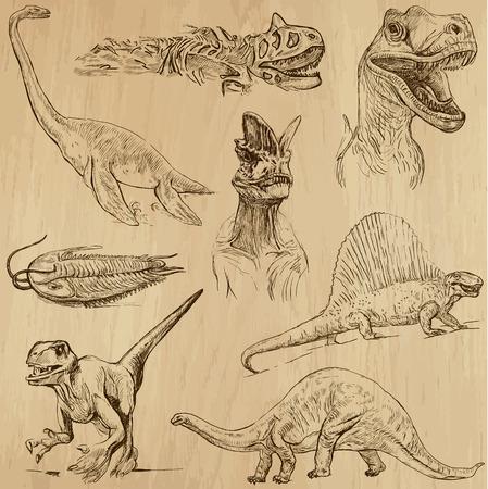 dinosaurio: Los dinosaurios no 1 - una mano drawn, vector conjunto Vectores