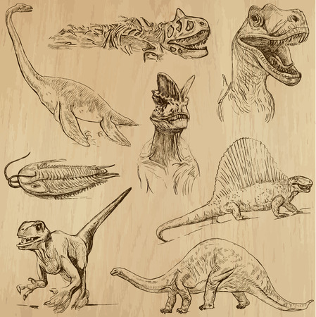 Dinosaurs no 1 - an hand drawn illustrations, vector set