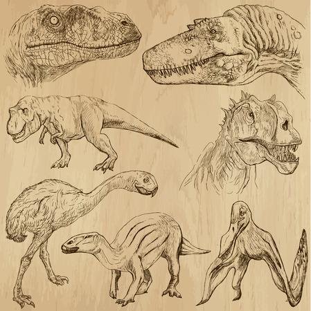 Dinosaurs no 2 - an hand drawn illustrations, vector set Stock fotó - 27516811