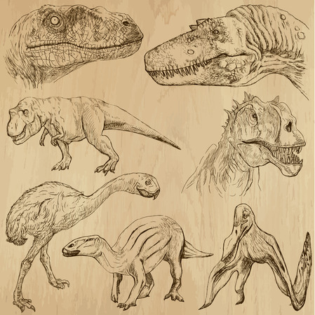 Dinosaurs no 2 - an hand drawn illustrations, vector set