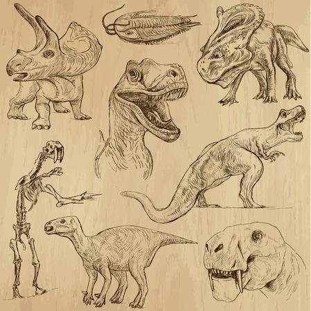 Dinosaurs no 3 - an hand drawn illustrations, vector set