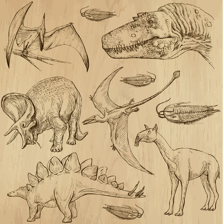 pterodactyl: Dinosaurs no 4 - an hand drawn illustrations, vector set