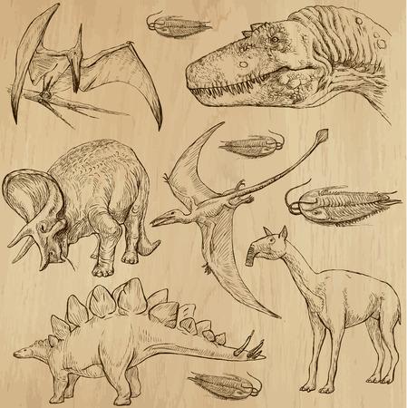 Dinosaurs no 4 - an hand drawn illustrations, vector set
