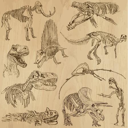 dinosauro: Dinosauri no 5 - illustrazioni disegnate, insieme vettoriale una mano