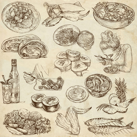 Food and Drinks around the World  set no  5  - full sized hand drawn illustrations on old paper illustration