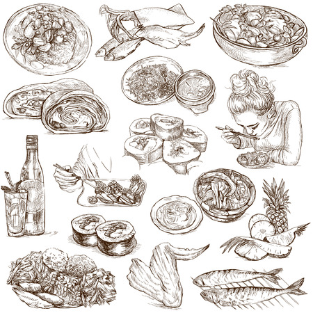mackerel: Food and Drinks around the World  set no  5  - Collection of an hand drawn illustrations on white  Stock Photo