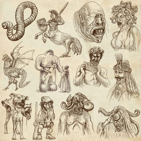 Myths and Legendary monsters no 1 - full sized hand drawn illustrations on old paper illustration