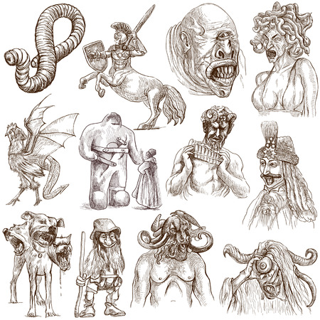 Myths and Legendary Monsters around the World  set no  1  - Collection of an hand drawn illustrations on white   illustration