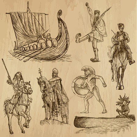 Warriors around the World  vector pack no 4   Collection of an hand drawn illustrations