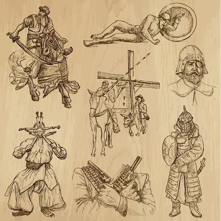 don quijote: Guerreros de todo el vector Pack Mundial n º 5 Colección de una mano dibuja ilustraciones