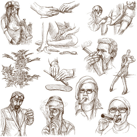 no 1: Drugs and Narcotics  set no 1, white  - Collection of an hand drawn illustrations   Stock Photo
