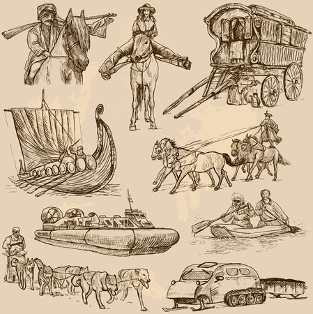 historical ship: Transport around the World  vector pack no 6  - hand drawn