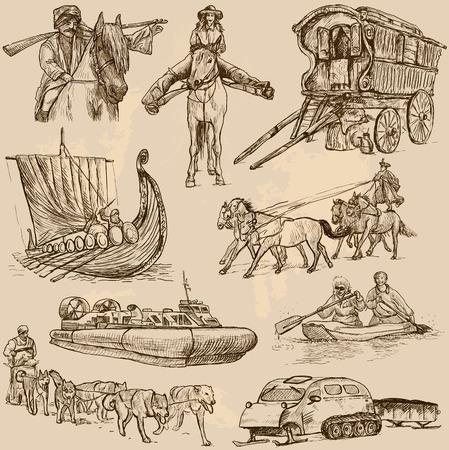 hovercraft: Transport around the World  vector pack no 6  - hand drawn