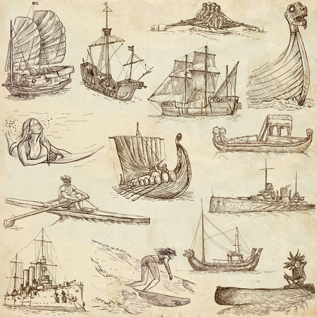 junk boat: Boats and Ships around the World  set no  1, paper  - an hand drawn collection Stock Photo
