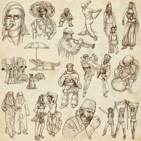 People around the World (pack no. 11) - Collection of an hand drawn illustrations. Description: Full sized hand drawn illustrations drawing on old paper. illustration