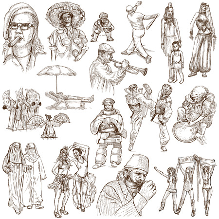 cigar smoking woman: People around the World (pack no. 11) - Collection of an hand drawn illustrations. Description: Full sized hand drawn illustrations drawing on white background.